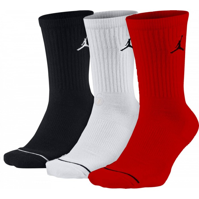 Chaussettes Jumpman Crew 3ppk black/white/gym red