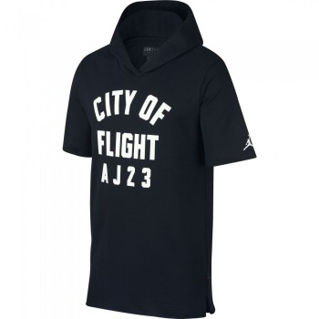 "Sweat Men's Jordan Sportswear ""city Of Flight"" Short-sleeve Hooded Top black/white 